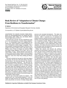 Book Review of Adaptation to Climate Cha... by Djalante, R.