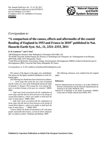 Corrigendum to a Comparison of the Cause... by Lumbroso, D. M.