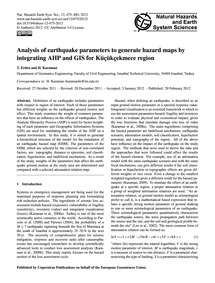 Analysis of Earthquake Parameters to Gen... by Erden, T.