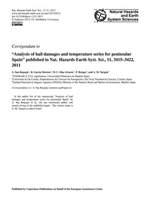 Corrigendum to Analysis of Hail Damages ... by Saa Requejo, A.