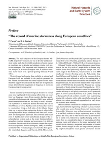 Preface the Record of Marine Storminess ... by Ciavola, P.