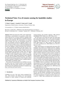 Technical Note: Use of Remote Sensing fo... by Tofani, V.