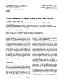 Evaluation of Forest Fire Models on a La... by Filippi, J. B.