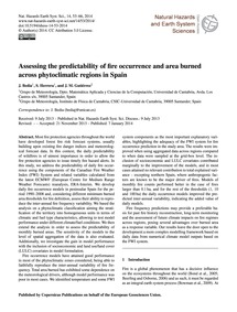 Assessing the Predictability of Fire Occ... by Bedia, J.