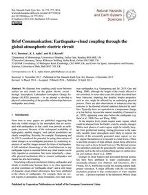 Brief Communication: Earthquake–cloud Co... by Harrison, R. G.