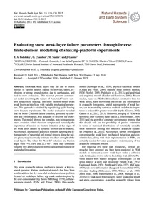Evaluating Snow Weak-layer Failure Param... by Podolskiy, E. A.