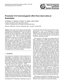 Preseismic Ulf Electromagnetic Effect fr... by Molchanov, O.