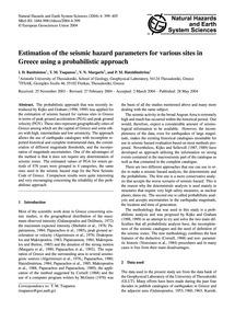 Estimation of the Seismic Hazard Paramet... by Banitsiotou, I. D.