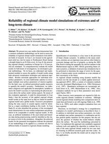 Reliability of Regional Climate Model Si... by Böhm, U.