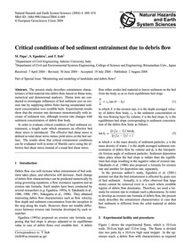 Critical Conditions of Bed Sediment Entr... by Papa, M.