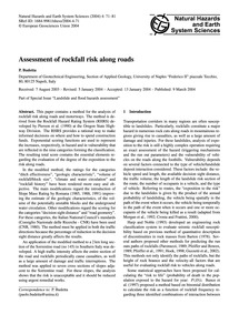 Assessment of Rockfall Risk Along Roads ... by Budetta, P.