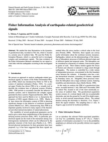 Fisher Information Analysis of Earthquak... by Telesca, L.