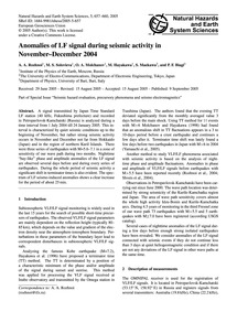 Anomalies of Lf Signal During Seismic Ac... by Rozhnoi, A. A.