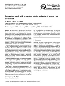 Integrating Public Risk Perception Into ... by Plattner, Th.