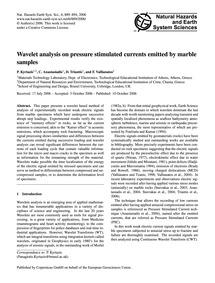 Wavelet Analysis on Pressure Stimulated ... by Kyriazis, P.