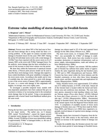 Extreme Value Modelling of Storm Damage ... by Bengtsson, A.
