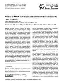 Analysis of Noaa Particle Data and Corre... by Fidani, C.