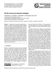 On the Moroccan Tsunami Catalogue : Volu... by Kaabouben, F.