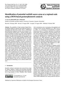 Identification of Potential Rockfall Sou... by Loye, A.