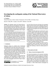 Investigating the Earthquake Catalog of ... by Chouliaras, G.