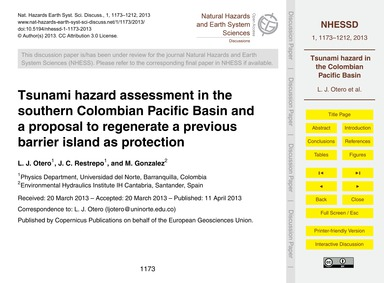 Tsunami Hazard Assessment in the Souther... by Otero, L. J.