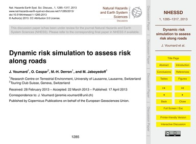 Dynamic Risk Simulation to Assess Risk A... by Voumard, J.