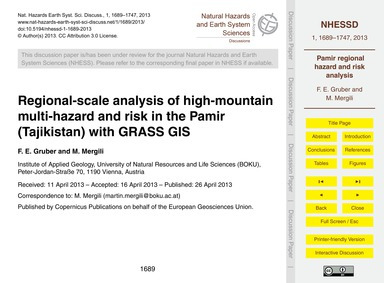 Regional-scale Analysis of High-mountain... by Gruber, F. E.