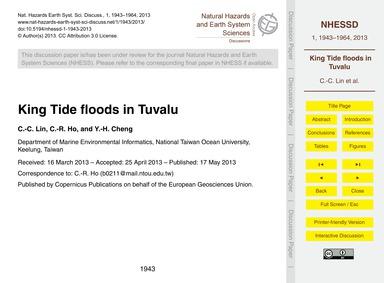 King Tide Floods in Tuvalu : Volume 1, I... by Lin, C.-c.