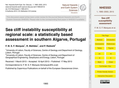 Sea Cliff Instability Susceptibility at ... by Marques, F. M. S. F.