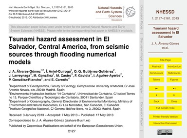 Tsunami Hazard Assessment in El Salvador... by Álvarez-gómez, J. A.
