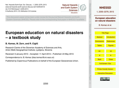 European Education on Natural Disasters ... by Komac, B.