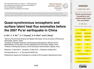 Quasi-synchronous Ionospheric and Surfac... by Qin, K.