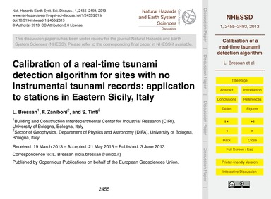 Calibration of a Real-time Tsunami Detec... by Bressan, L.