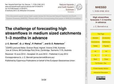 The Challenge of Forecasting High Stream... by Bennett, J. C.