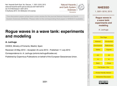 Rogue Waves in a Wave Tank: Experiments ... by Lechuga, A.