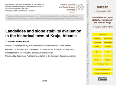 Landslides and Slope Stability Evaluatio... by Muceku, Y.
