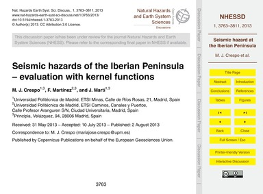 Seismic Hazards of the Iberian Peninsula... by Crespo, M. J.