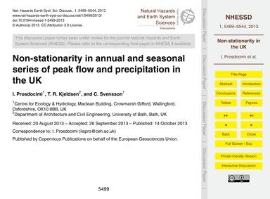 Non-stationarity in Annual and Seasonal ... by Prosdocimi, I.