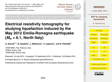 Electrical Resistivity Tomography for St... by Giocoli, A.