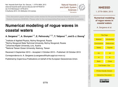 Numerical Modeling of Rogue Waves in Coa... by Sergeeva, A.