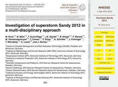 Investigation of Superstorm Sandy 2012 i... by Kunz, M.