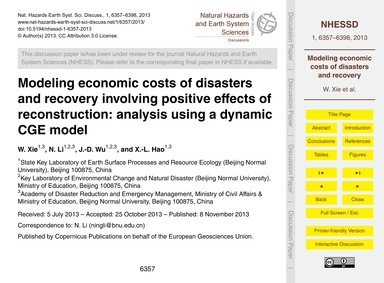 Modeling Economic Costs of Disasters and... by Xie, W.
