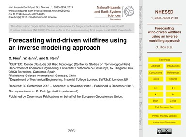 Forecasting Wind-driven Wildfires Using ... by Rios, O.