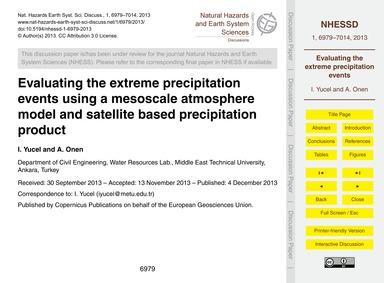 Evaluating the Extreme Precipitation Eve... by Yucel, I.