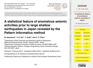 A Statistical Feature of Anomalous Seism... by Kawamura, M.