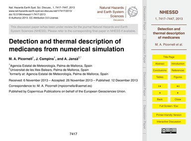 Detection and Thermal Description of Med... by Picornell, M. A.