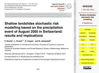 Shallow Landslides Stochastic Risk Model... by Nicolet, P.