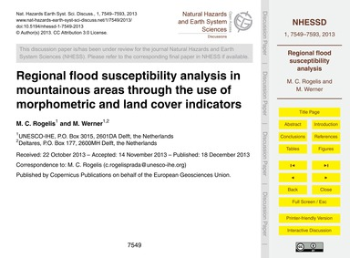 Regional Flood Susceptibility Analysis i... by Rogelis, M. C.