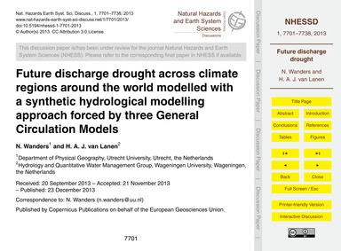 Future Discharge Drought Across Climate ... by Wanders, N.