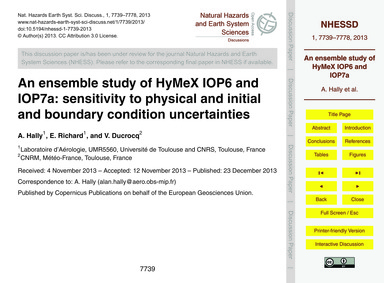 An Ensemble Study of Hymex Iop6 and Iop7... by Hally, A.